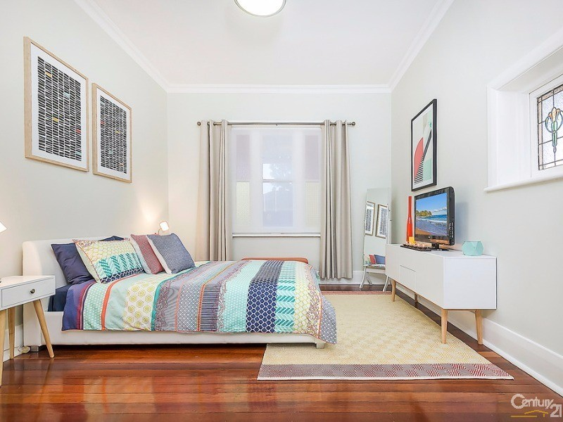 2nd bedroom double size with original lead light feature window, jarrah floors free standing robe included - 172 Fletcher Road, Largs Bay - House for Sale in Largs Bay