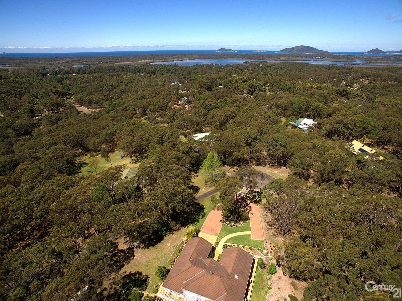 Aerial showing proximity to the ocean - 5 Kooraru Close, Tea Gardens - House & Land for Sale in Tea Gardens